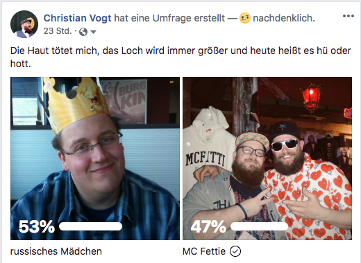 Facebook Umfrage zum Bart